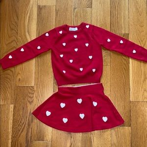 Valentines Day sweater and skirt set